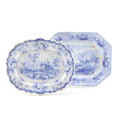 Ironstone Transferware Serving Trays Including Lucerne, Mid to Late 19th Century