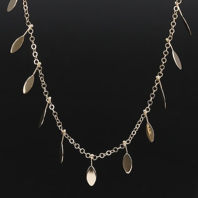 14K Rolo Chain Link Station Necklace