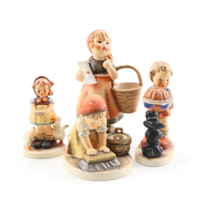 "Goebel Porcelain Hummel Figurines Including ""Begging His Share"" and ""Be Patient"""