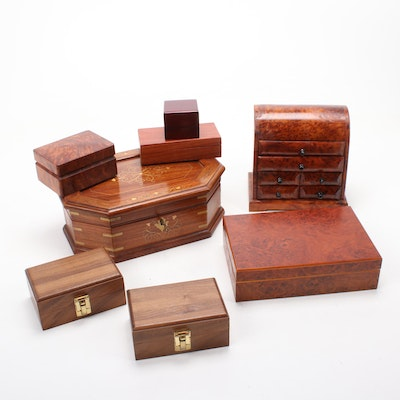 Burl Wood and Brass Inlay Jewelry and Trinket Boxes