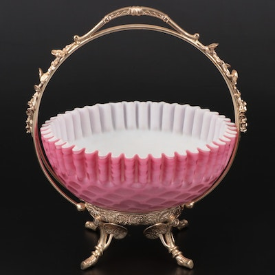 Satin Cased Cranberry Bride's Basket with Silver Plate Stand