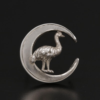 Sterling Silver Crescent Moon and Ostrich Brooch