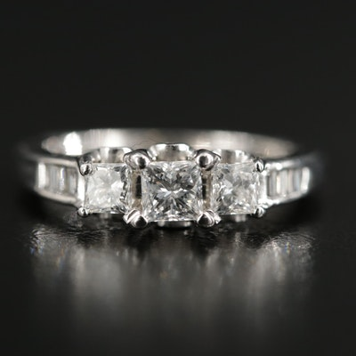 14K White Gold 0.89 CTW Diamond Ring
