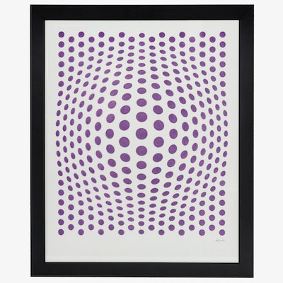 "deSanto Op Art Acrylic Painting ""Song of Purple"""