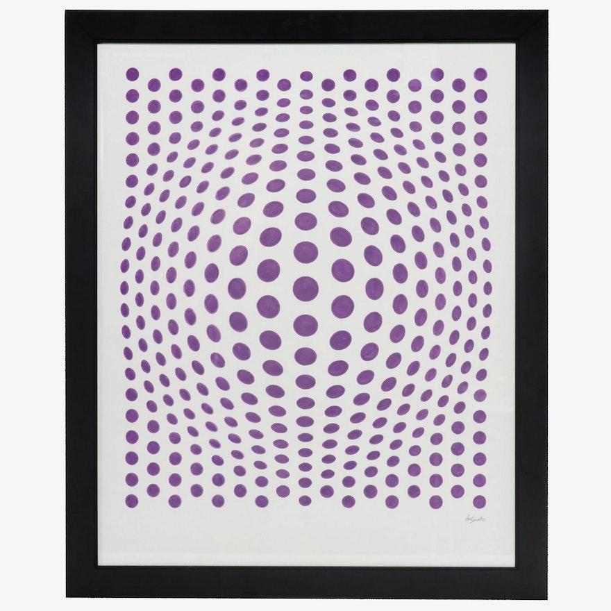 "deSanto Op Art Acrylic Painting ""Song of Purple"""