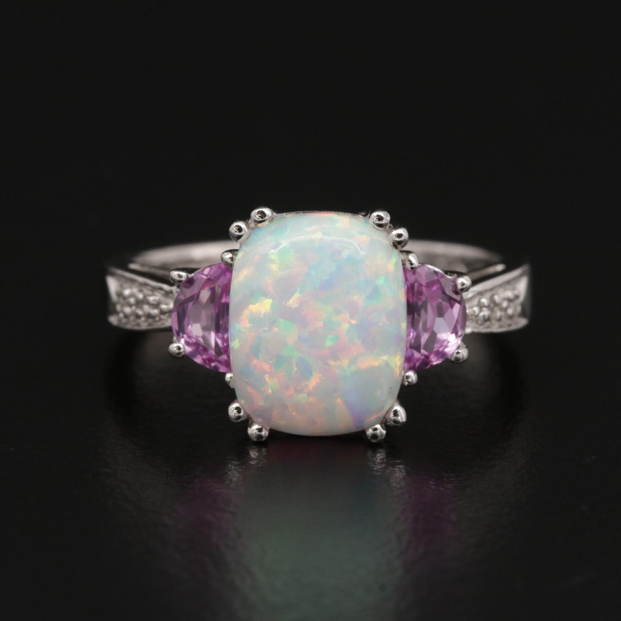 14K Gold Synthetic Opal, Sapphire and Diamond Ring
