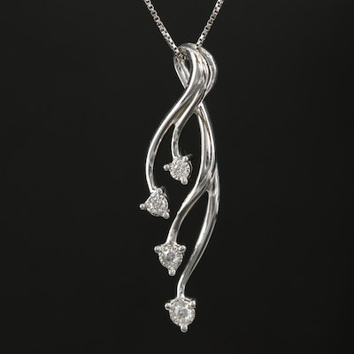 14K Box Chain Necklace with Sterling Diamond Pendant