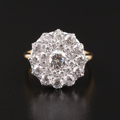 Vintage 18K Gold 2.43 CTW Diamond Ring with Platinum Accent