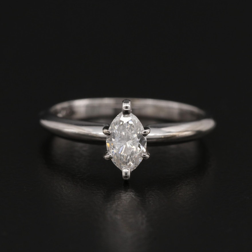 14K Gold 0.47 CT Diamond Solitaire Ring with 10K Accent