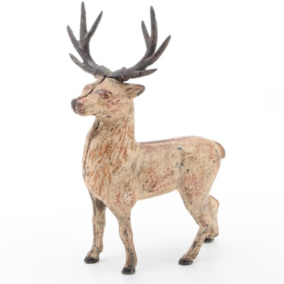 Cast Iron Stag or Elk Form Still Bank