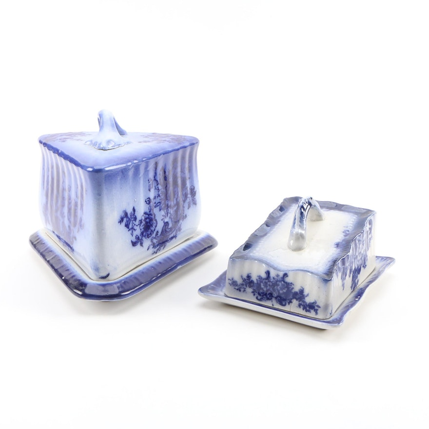 Flow Blue Ceramic Cheese Keepers, Late 19th/Early 20th Century