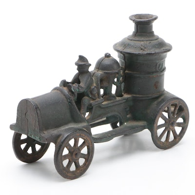 Cast Iron Toy Pumper Fire Truck with Driver