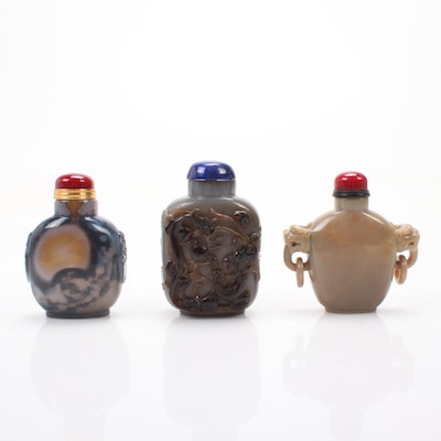 Three Chinese Carved Stone Snuff Bottles