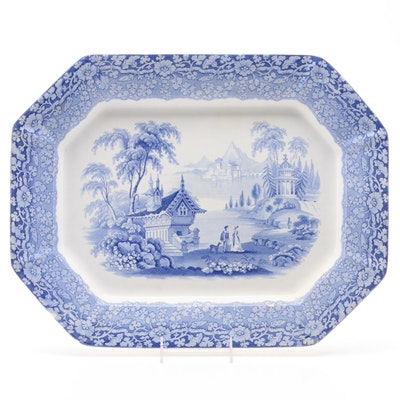 English Blue Transferware Platter with Orientalist Scene, Late 19th Century