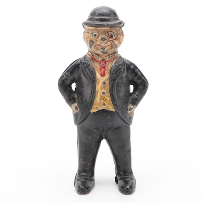 Business Man in Suit With Glasses and Derby Hat Cast Iron Still Bank