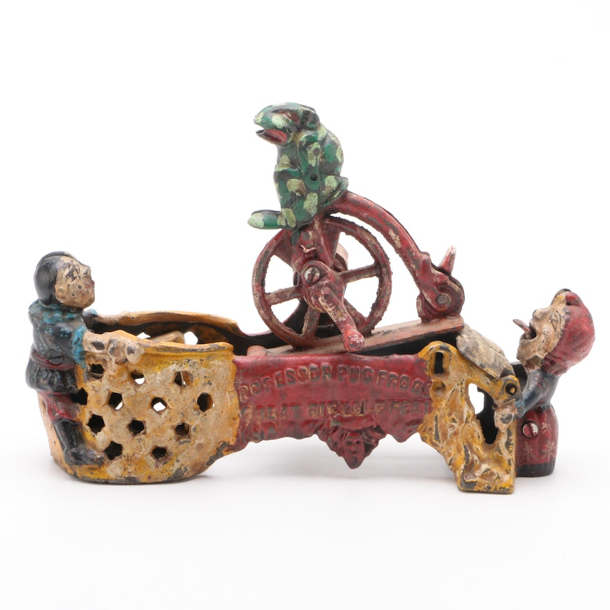"""""""Prof. Pug Frog's Great Bicycle Feat"""" Polychrome Cast Iron Mechanical Bank"""