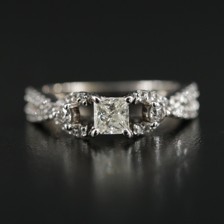 14K White Gold 0.96 CTW Diamond Ring
