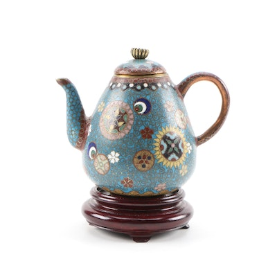East Asian Miniature Cloisonné Teapot with Stand