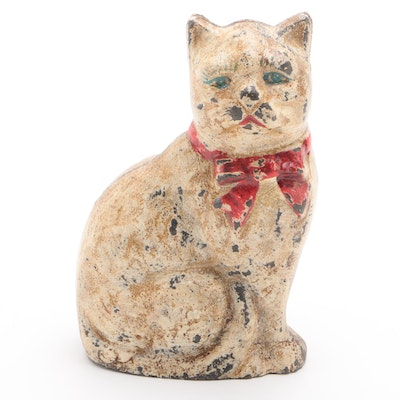 Blue-Eyed Sitting Cat with Red Bow Cast Iron Still Bank