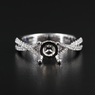Fana 14K Gold Diamond Semi-Mount Ring with Hidden Sapphire