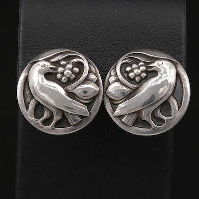 Vintage Georg Jensen Sterling Silver Bird Button Earrings