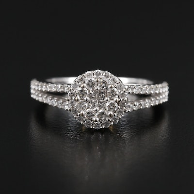 14K Gold Diamond Cluster Ring