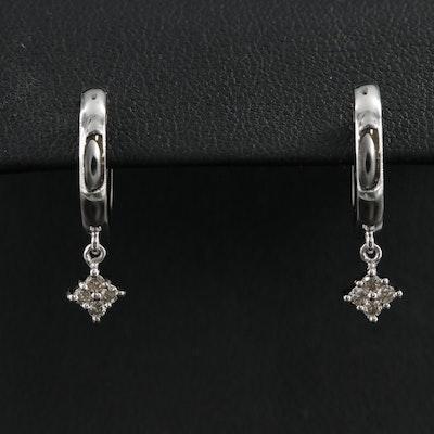 10K Hoop Earrings with Diamond Drops