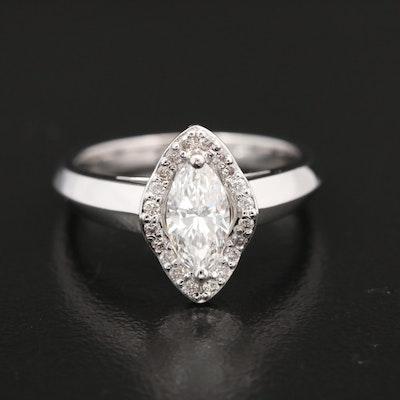 14K Gold Diamond Navette Ring