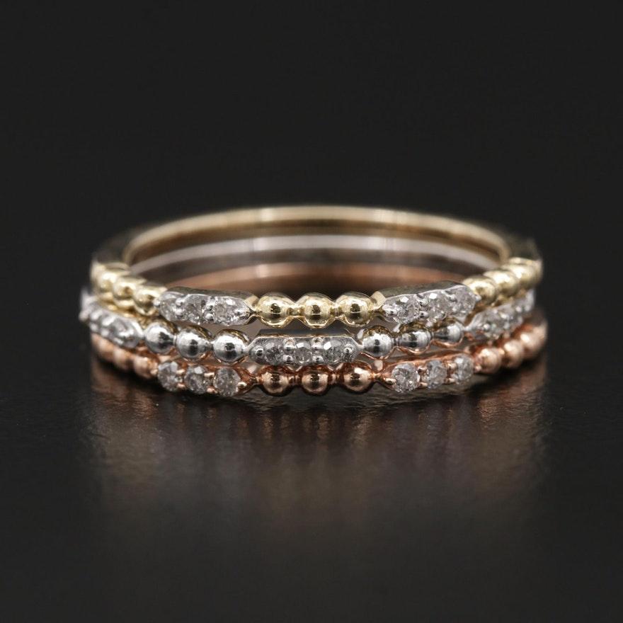 10K Tri-Color Gold Diamond Stacking Ring Set
