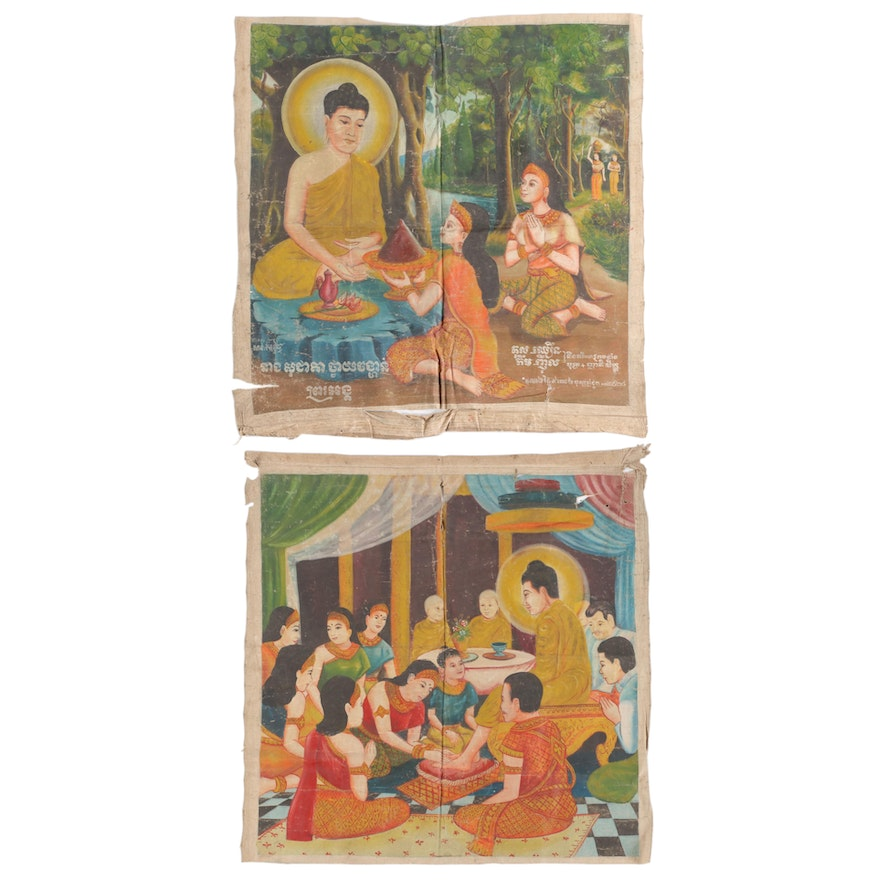 Cambodian Gouache Paintings of the Life of the Buddha