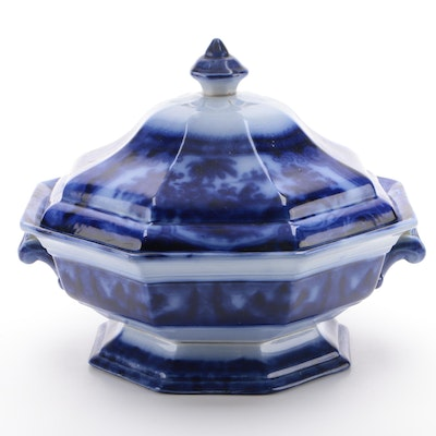 "J. Meir & Son ""Kyber"" Flow Blue Ironstone Tureen, Late 19th Century"