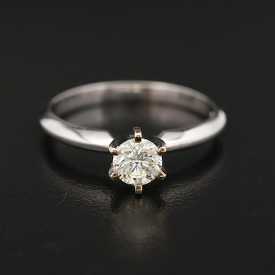14K White Gold 0.45 CT Diamond Solitaire Ring