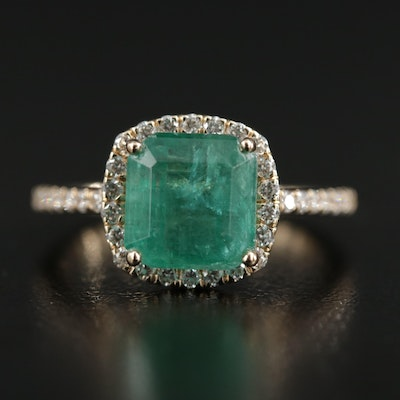 14K Yellow Gold 2.89 CT Emerald and Diamond Ring