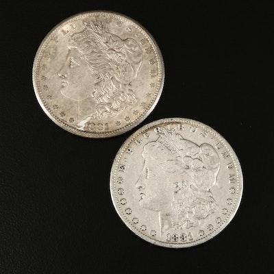 1881-S and 1881 Morgan Silver Dollar