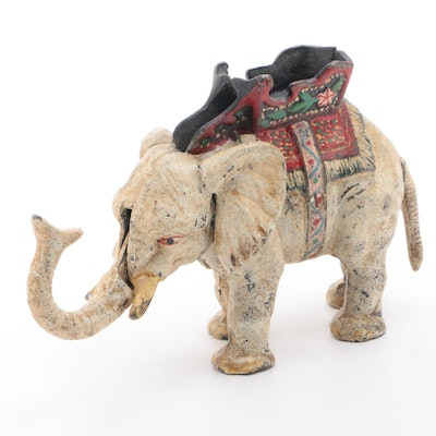 Elephant with Howdah Cast Iron Mechanical Bank