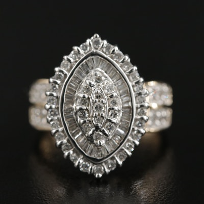 14K 1.00 CTW Navette Diamond Ring