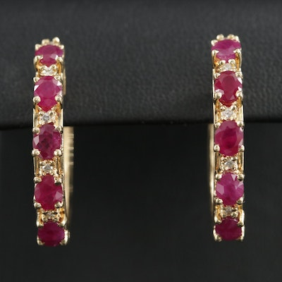 14K Ruby and Diamond Hoops