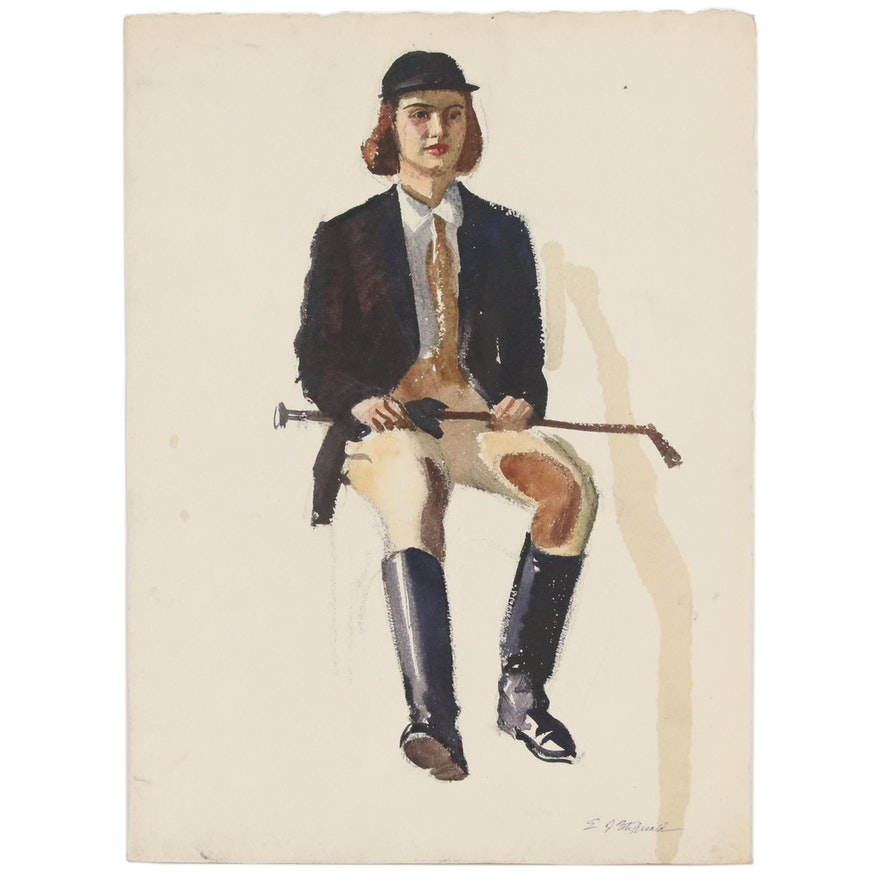 Edmond J. Fitzgerald Figural Watercolor Painting of Equestrienne