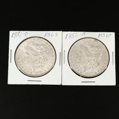 1880-O and 1881-O Morgan Silver Dollar