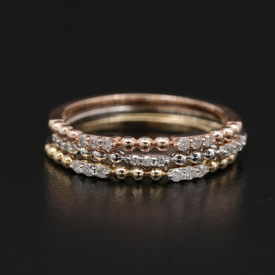 10K Tri-Color Gold Diamond Stacking Rings
