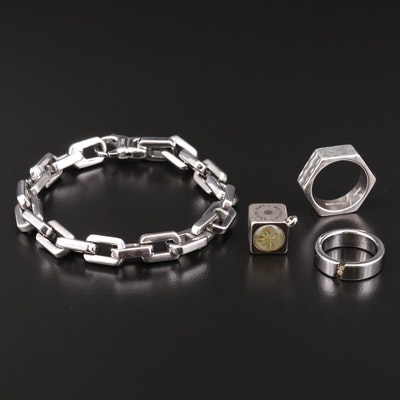 Fine Silver and Stainless Steel Jewelry with 18K Accent