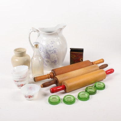 Wooden Rolling Pins, Ironstone Pitcher and Other Kitchenalia