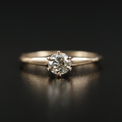 14K Yellow Gold 0.42 CT Diamond Solitaire Ring