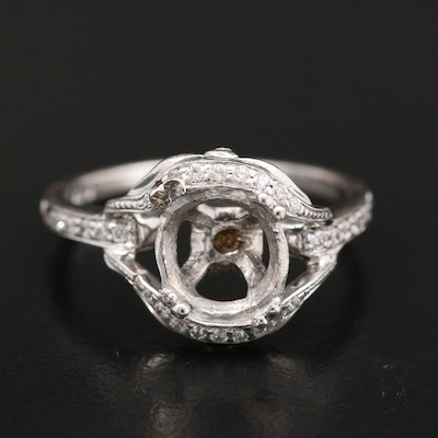 Sterling Cubic Zirconia Semi-Mount Ring