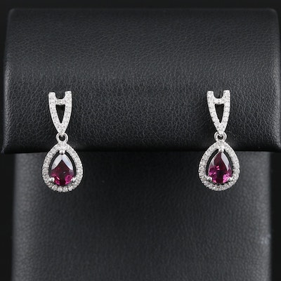 14K Gold Rhodolite Garnet and Diamond Drop Earrings