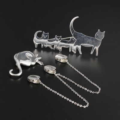 Sterling Silver Feline Brooches and Lingerie Clips
