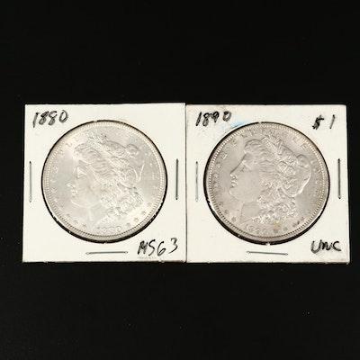 1880 and 1890 Morgan Silver Dollar