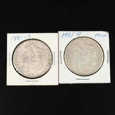 1881-S and 1921-D Morgan Silver Dollar