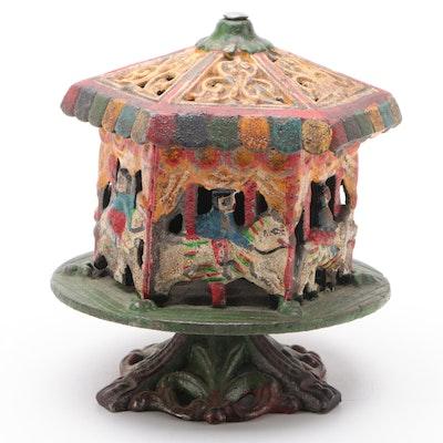Carousel Merry-Go-Round Cast Iron Still Bank, 20th Century