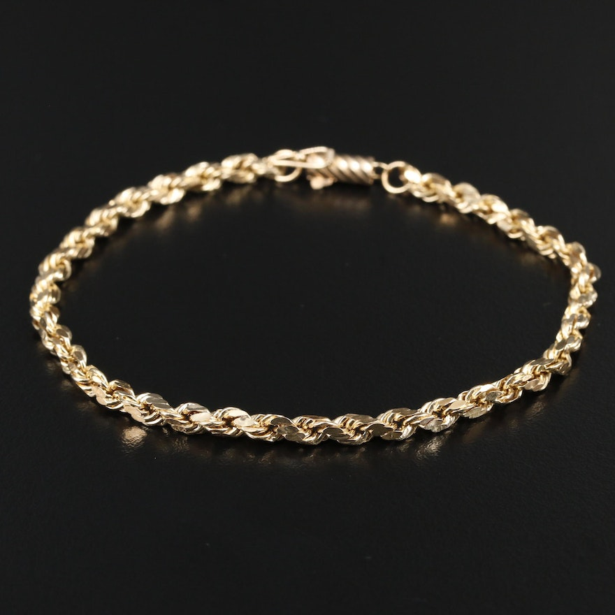 14K Yellow Rope Chain Link Bracelet